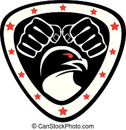 marcial, simbol, diseño, emblem., coloreado, logo., arte, ...