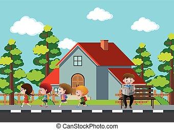 marciapiede, correndo, bambini, vicinato, scena