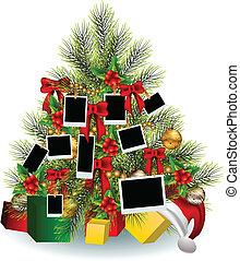 marco, árbol, navidad
