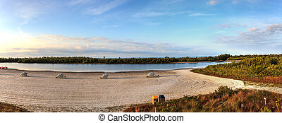 marco, 傘, 椅子, 島, 上に, cabanas, 砂, 折りたたみ, 白い浜, 前方へ, tigertail