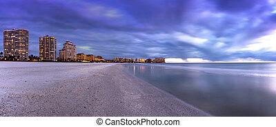 marco, 島, 夜, 前方へ, highrises, 浜, tigertail