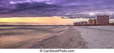 marco, 雲, 島, 上に, 水, 日没, 冷静, 浜, tigertail