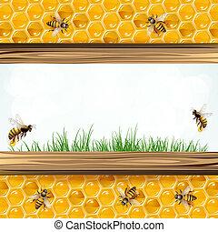 marco, abejas, paisaje