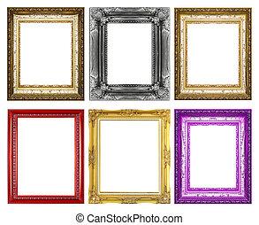 marco, aislado, blanco, plano de fondo