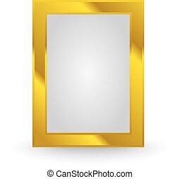 marco, aislado, oro