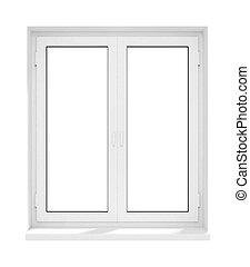 marco, aislado, plástico, ventana de cristal, cerrado, nuevo