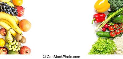 marco, aislado, plano de fondo, fruits, fresco, blanco, vegetales