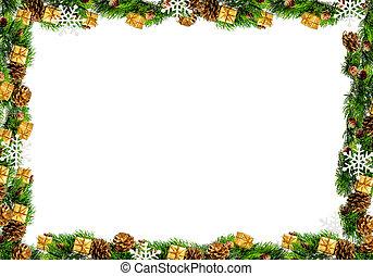 marco, blanco, aislado, plano de fondo, navidad