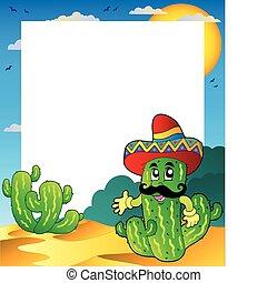 marco, cacto, mexicano