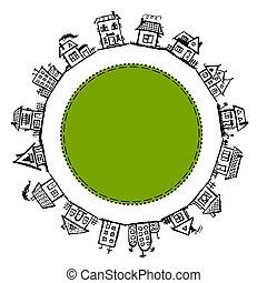 marco, casas, aldea, diseño, su, feliz