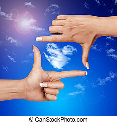 marco, cielo, humano, contra, manos