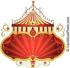 marco, circo, magia, rojo