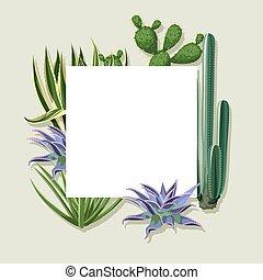 marco, con, cactus, y, succulents, set., plantas, de,...