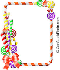 marco, con, colorido, candies.