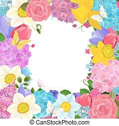 marco, con, colorido, flores del resorte, para, su, diseño