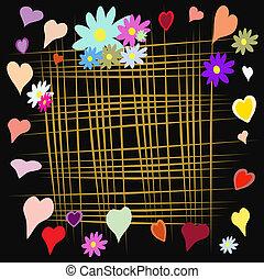 marco, con, flor, y, lino, en, fondo negro