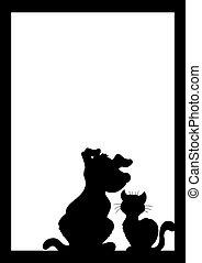 marco, con, gato, y, perro, silueta