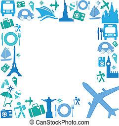 marco, con, iconos de viajar
