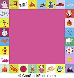 marco, con, juguetes, para, niños