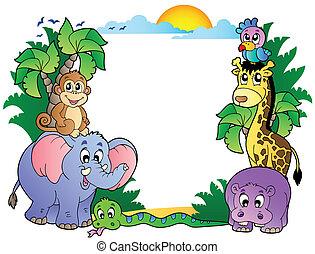 marco, con, lindo, africano, animales