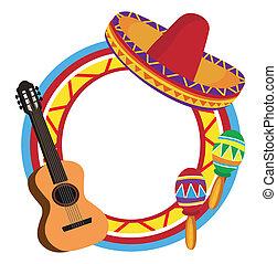 marco, con, mexicano, símbolos