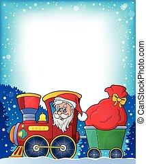 marco, con, navidad, tren, tema, 1