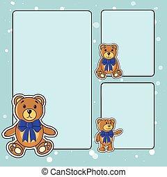 marco, con, osos, en, el, vector