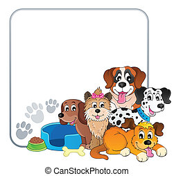 marco, con, perro, tema, 2