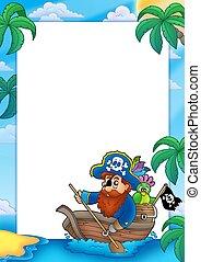 marco, con, pirata, remar, en, barco