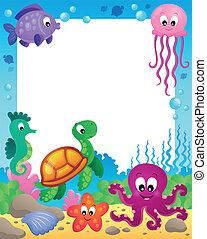 marco, con, submarino, animales, 3