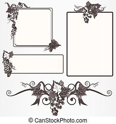 marco, conjunto, uvas, florido