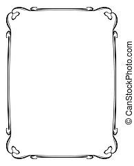 marco, corazón, decorativo, ornamental