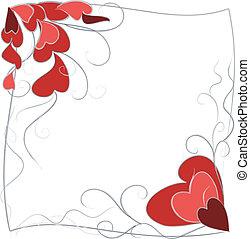 marco, corazones, ornamento