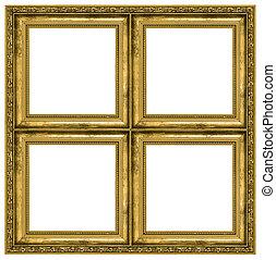 marco, cuádruple, dorado