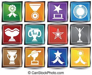 marco, cuadrado, premio, iconos