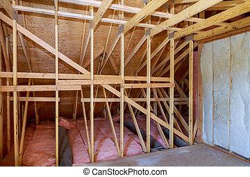 marco de la casa, inclinar, ático, aislamiento, nuevo