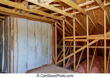 marco de la casa, proceso, construcción, aislamiento, ático, espuma