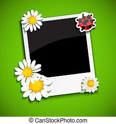 marco de la foto, con, flores