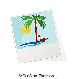 marco de la foto, con, playa, icono, vector, ilustración