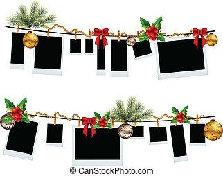 marco de la foto, conjunto, con, navidad, icono