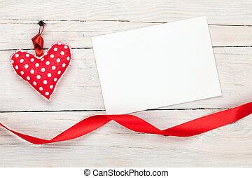 marco de la foto, o, tarjeta de felicitación, y, valentines, juguete, corazón