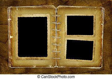 marco de la foto, photoalbum, abierto, notas