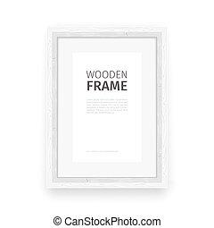 marco de madera, blanco, rectángulo