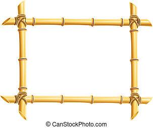 marco de madera, de, bambú, palos