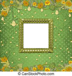 marco de madera, flámulas, plano de fondo, flores, resumen,...