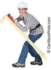 marco de madera, liso, avión, tradeswoman, utilizar