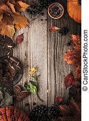marco, de, otoño, regalos, con, película, filtro, efecto