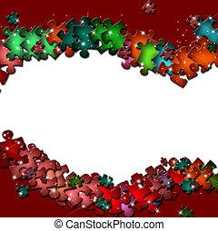 marco, elementos, rompecabezas, colorido