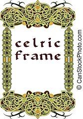 marco, en, estilo céltico, un, vector