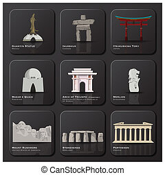 marco famoso, de, mundo, ícone, jogo